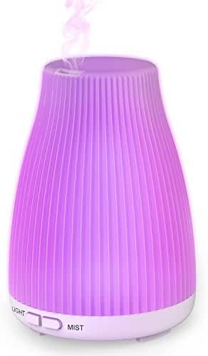 Essential Oil Diffuser, 100 ml Cool Mist Aroma Humidifier for Aromatherapy with changing 8 Color LED Lights, Waterless Auto Shut-off and Adjustable Mist mode for Home Office Bedroom Room by Neloodony