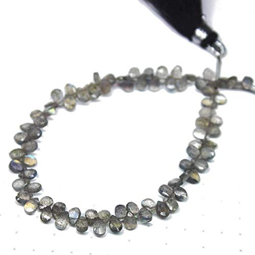 - GemAbyss Beads Gemstone Natural Blue Labradorite Faceted Briolette Pear Drop Gemstone Craft Loose Beads Strand 7 Inch Long 5mm Code-MVG-26658