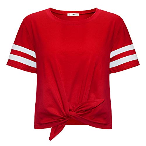 Women's Summer Crop Top Solid Short Sleeve Tie Front T-Shirt (M, 844Red)
