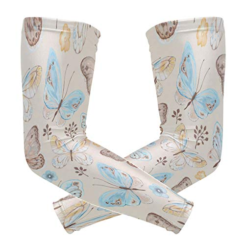 - ALAZA Cooling Sports Arm Sleeves Sun UV Protection for Men Women Vintage Butterfly Floral Flowers Country Garden