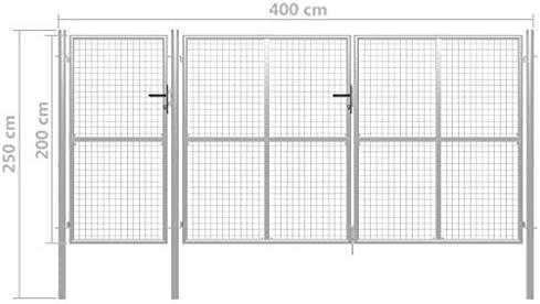 UnfadeMemory Puerta Jardin Metalica,Entrada para Valla de Jardín Patio o Terraza,Resistente al Óxido y a la Corrosión,Acero (400x200cm, Plateado): Amazon.es: Hogar