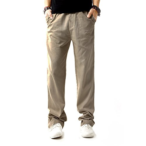 - HULANG Mens Casual Lightweight Straight Leg Linen Pants with Drawstring