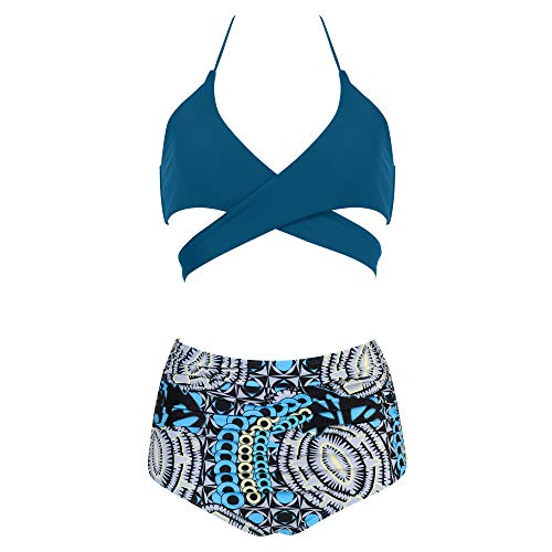 MOOSLOVER Women Sexy Halter Bikini Push-up Padded Floral 2Pcs Bathing Suits(S,Navy-1)