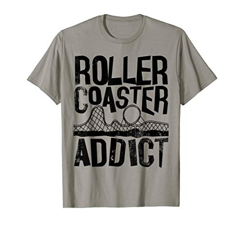 (Roller Coaster Addict I cool rollercoaster fan design black T-Shirt)