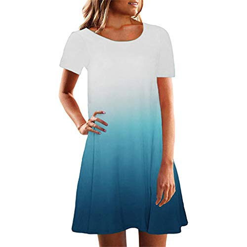 Tantisy ♣↭♣ Women Tunic Dress Short Sleeve Crew Neck Casual Loose Fitting Gradient Dresses - Twill Crew Brushed