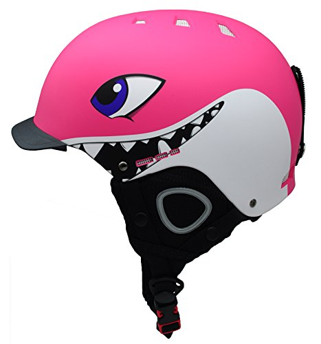 BeBeFun Kids and children ski skate snowboard snow sports Helmet with removable Mini Visor age 3-7 and 7-12 Year (pink, S(50-53cm))