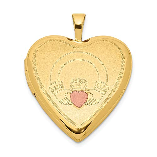 ICE CARATS 925 Sterling Silver Gold Plated 20mm Irish Claddagh Celtic Knot Enameled Heart Photo Pendant Charm Locket Chain Necklace That Holds Pictures Fine Jewelry Gifts for Women for Her