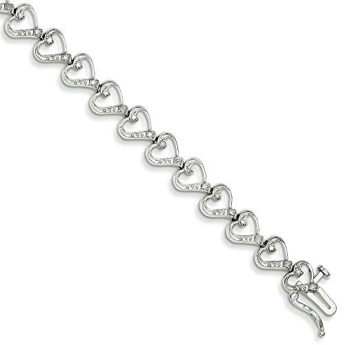 Argent Sterling diamant coeur Bracelet-JewelryWeb