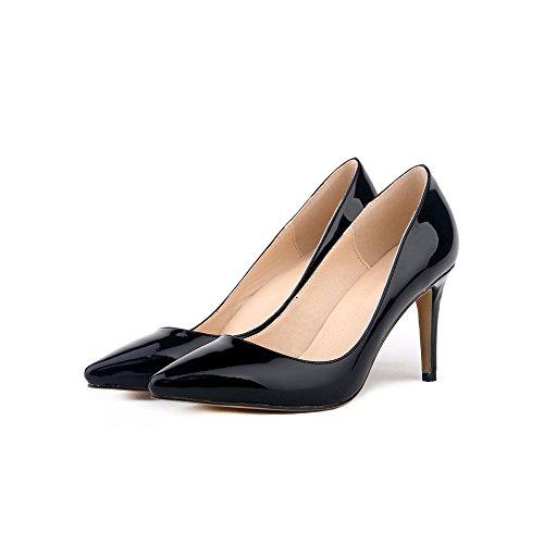 Negro Pu Partido Patente Manera Del Mujer Los Ochenta La Zapatos De Clasica Boda Cuero gOA4nWCZ