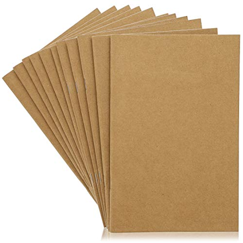 Kraft Notebook - 24-Pack Unlined Blank Books, Unruled Plain Travel Journals for Students, School, Children's Writing Books, Class Projects, Brown, 5.5 x 8.5 Inches, Half Letter Sized, 24 Sheets Each