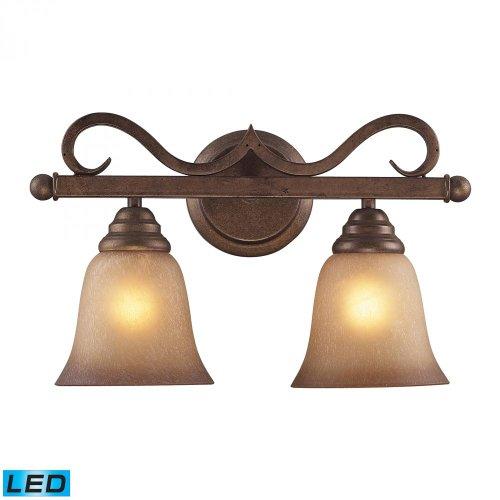 ELK 9321/2-LED, Lawrenceville Glass Wall Vanity Lighting, 2 Light LED, Mocha
