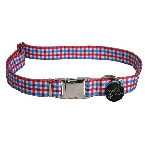 Southern Dawg Gingham Red and Blue Dog Collar -Medium-3/4
