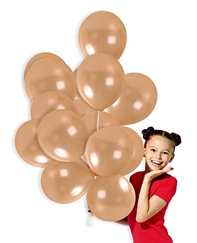 Pearl Balloons Latex Peach - Metallic Champagne Peach Shade Balloons 12 Inch Thick Latex Balloon Pack of 72 and 65 Yards Curling Ribbon Party Kit for Wedding Bridal Shower Baby Shower Birthday Wedding Decorations