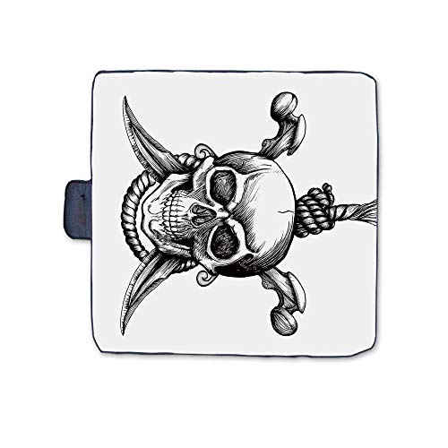 Pirate Outdoor Picnic Blanket,Jolly Roger Skull with Two Knifes Bones and Hanging Rope Gothic Criminal Halloween Decorative Mat for Picnics Beaches Camping,58