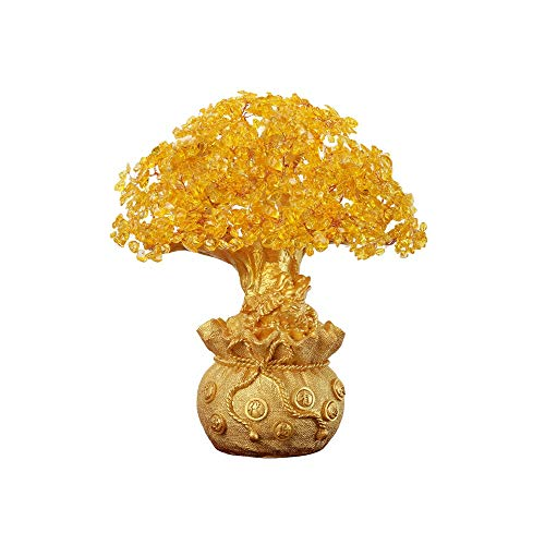 Wuliwu High-end Money Tree Desktop Decoration, Citrine Exquisite Home Decoration, Large Chinese Style Creative Crafts, Feng Shui Ornaments, Meaning Beautiful, 15.4inch12.6inch6.3inch (Ornaments Meaning Chinese)
