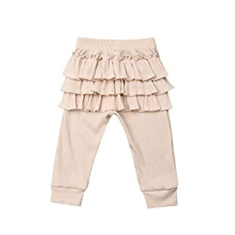 Karuedoo Baby Girls Soft Cotton Knit Ruffle Tights Leggings Infant Toddler Solid Color Stretch Long Pants (0-6M, Beige)