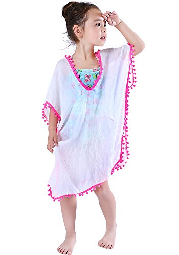 MissShorthair Fashion Girls Cover-ups Swimsuit Wraps Beach Dress Top with Pompom Tassel, One Size, (Swim Cover Up For Kids)