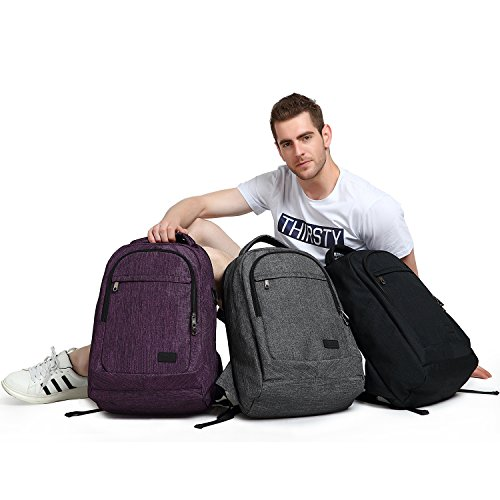 MarsBro Laptop Backpack, Anti Theft Business Water Resistant 15.6 Inch with USB Charging Port Travel College Computer Bag, Purple by MarsBro (Image #7)