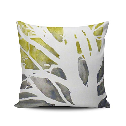 XIUBA Throw Pillow Covers Case Yellow White Olive Green Grey Tree Abstract Decorative Pillowcase Cushion Cover 20 x 20 inch Square Size One Side Design Printed