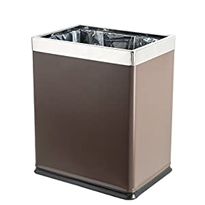 Brelso 'Invisi-Overlap' Open Top Metal Trash Can, Small Office Wastebasket, Modern Home Décor, Rectangle Shape (Brown)