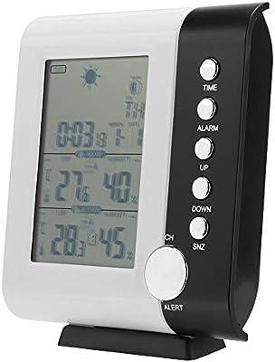 Cafopgrill Termómetro LCD Digital, Reloj de estación meteorológica de RF LCD inalámbrico inalámbrico Termómetro Digital Higrómetro Temperatura Humedad Medición Estación meteorológica receptora: Amazon.es: Hogar