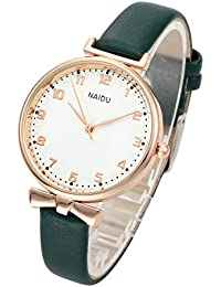 Womens Ladies Classic Simple Leather Analog Quartz Wrist Watch Rose Gold Case Arabic Numerals Casual Dress