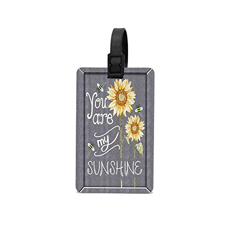 PoppyAnthony You are My Sunshine Quote on a Black Board with Bees and Sunflowers Cunstom Luggage Bag Tags Travel Tags Travel ID Tag