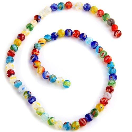 6mm Millefiori Glass Round Beads - Ecloud Shop Millefiori Lampwork Glass Round Beads 6mm Strand FASHION