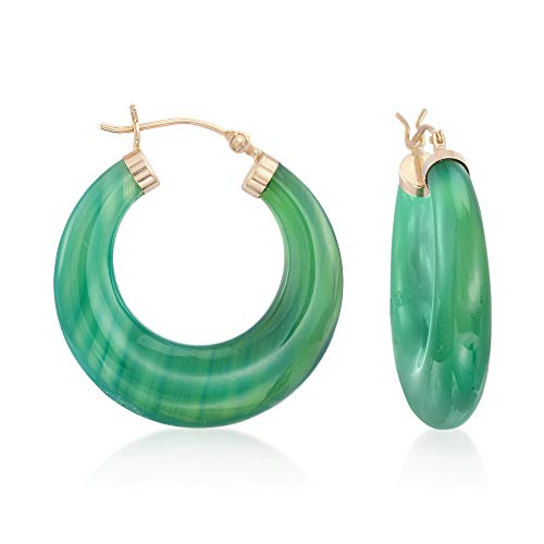 Ross-Simons Green Agate Hoop Earrings in 14kt Yellow Gold