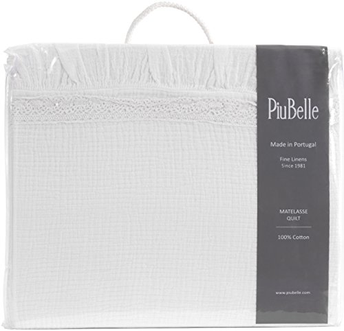 (Piu Belle Shabby Chic Ruffled Bedspread Matelasse Cotton Coverlet French Country Style Frilled Bedspread Stone Washed Textured (Queen, Lace White))