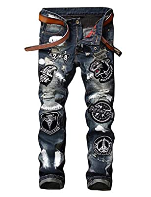 Enrica Men's Ripped Distressed Slim Fit Biker Jeans with Patches