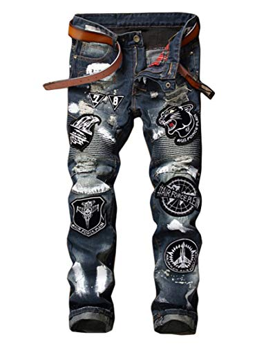 Enrica Men's Ripped Distressed Slim Fit Biker Jeans with Patches Blue ()