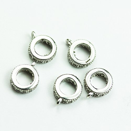 Sterling Silver Circle Connectors (2pcs 925 Sterling silver Jewellery Findings Connector,Clear cubic zirconia ,7mm Loop Circle,4mm inner size)