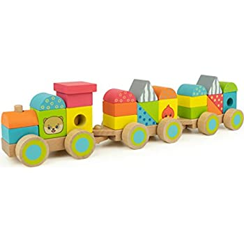 Amazoncom Melissa Doug Stacking Train Classic Wooden Toddler