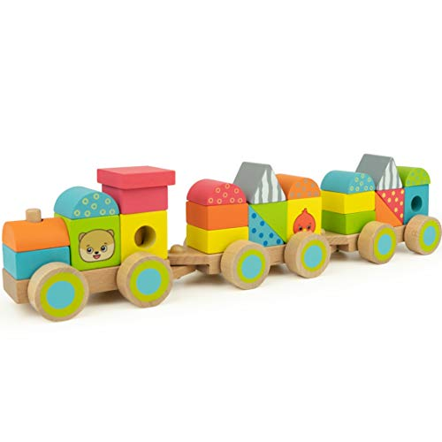 Bimi Boo Wooden Stacking Train Set for Kids with 2 Wood Linking Cars Gift - Classic Toddler Toy (23 Pcs), Stackable Shapes in Variety of Colors - 3.5 H × 2.7 W × 14.9 L inches ()
