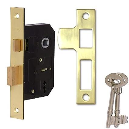 Cerradura Rhino para puertas interiores de 2 tiradores, 63 mm; cierre seguro con llave