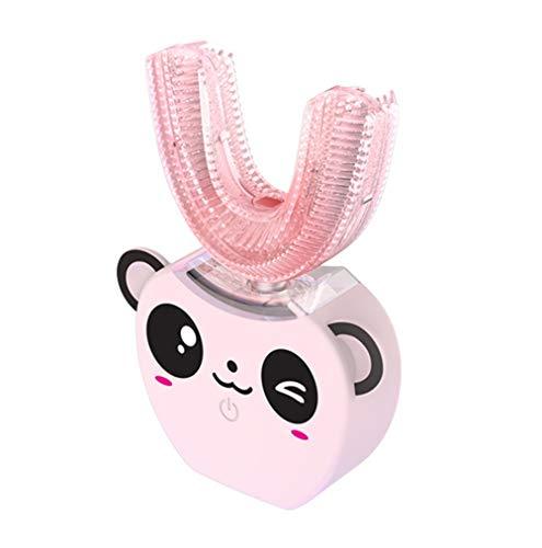 Automatische Kinder-Ultraschallzahnbürste, 360-Grad-4-Modus-Silikonbürstenköpfe Intelligente U-Typ-Zahnbürste, Mundreiniger, 2 Altersgruppen, USB-Aufladung,Lpink