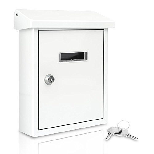 Serenelife Wall Mount Lockable Mailbox - Modern Outdoor Galvanized Metal Key Large Capacity - Commercial Rural Home Decorative & Office Business Parcel Box Packages Drop Slot Secure Lock SLMAB01 White
