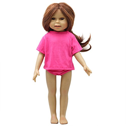 AMOFINY 2PC New Dolls Solid T-shirt And Briefs Set DIY American Girl For 18 Inch (Hot Pink)