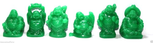 (Set of 6 Jade Color Feng Shui Laughing Buddha Statue Figures Luck & Wealth)