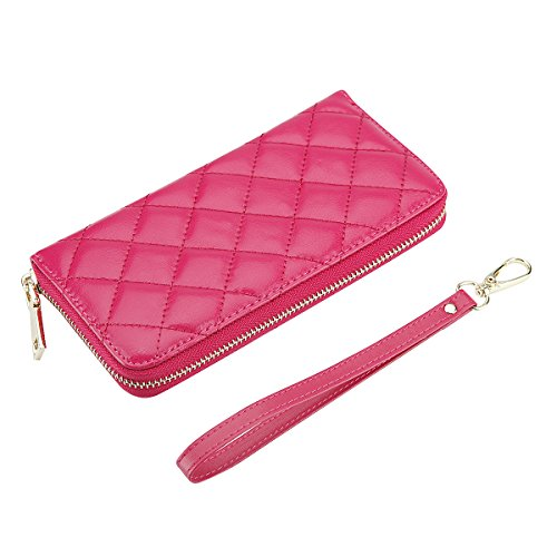 Rnker Multi-purpose Genuine Leather Women Wallets /Clutch Wallet /Wristlet / Handbags Wallets / Cellphone Case Fit for Iphone 6, Galaxy S6, All Cellphones (Pink)