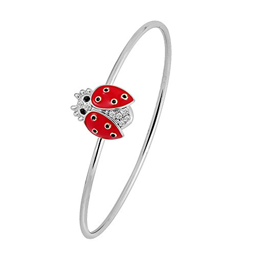 GUANDU New Fashion Three Colors Red Enamel Fortunate Ladybug Charmful Openable Bangle Bracelet for Women Girls Gifts (Silver)