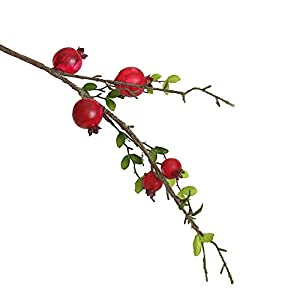 Pomegranate Dry Branch Simulation Fruit Fake Artificial Rose Fruit Berries Bouquet Floral Garden Home Decor (red) 58