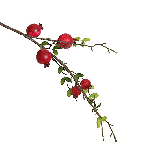Artificial flower,Fake Rose Fruit Pomegranate Berries Bouquet Long Dry Branch Floral For Garden Home Decor (Red) by MaxFox (Image #1)