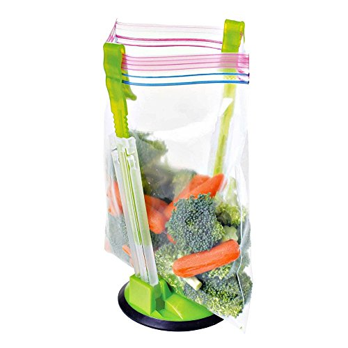 Eutuxia Hands-Free Baggy Rack, Plastic Bag Holder and Baggie Stand. Clip Food Storage Bags onto Holder, Ideal Kitchen Product
