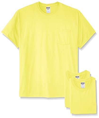 Jerzees Men's White Adult Short-Sleeve Pocket T-Shirts (3-Pack), Safety Green, Small -