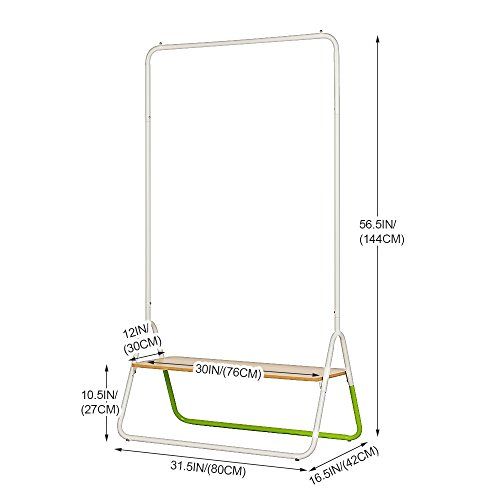 Creatwo Garment Rack with Wood Shelf Portable Metal Clothes Rack Laundry Clothes Drying Rack, White/Green by Creatwo (Image #6)