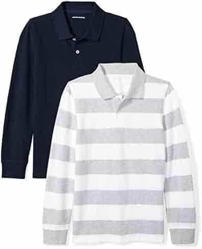 Amazon Essentials Boys' 2-Pack Long-Sleeve Pique Polo Shirt