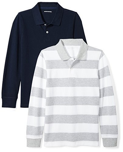 Amazon Essentials Big Boys' 2-Pack Long-Sleeve Pique Polo Shirt, Grey/White Rugby Stripe/Navy, XL (12)