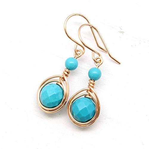 Gold Turquoise Earrings Rose (Rose Gold Filled Handmade Wire Wrapped Earrings with Turquoise gemstones)